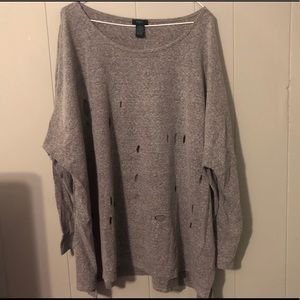 Gray shirt with holes